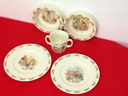 Vintage Royal Doulton Made In England Bunnykins Bowl Plate And Cup Lot 5 Pieces
