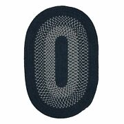 Madison Navy Gray Bordered Wool Blend Country Farmhouse Oval Round Braided Rug