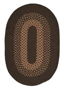 Madison Brown Khaki Bordered Wool Blend Country Cabin Oval Braided Rug