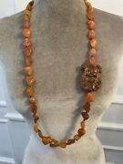 Vintage Carnelian Necklace With Carved Wooden Charm