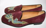 950 Nib Men Dragon Embroidery Suede Loafers Slips Ons Us 8.5