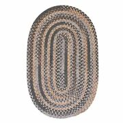 Oak Harbour Graphite Multi Variegated Wool Country Farmhouse Oval Braided Rug