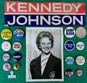 Political Pin Back Button Collection Kennedy Johnson Sticker Lurleen Wallace Pic