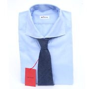 2pc Outfit Lot Kiton Italy Blue Twill Cotton Dress Shirt 16 41 Blue Drake's Tie