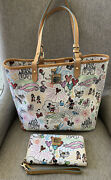 Disney Dooney And Bourke Sketch Large Tote And Wallet Wristlet Mickey Minnie
