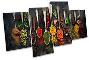 Spoons Spices Kitchen Modern Picture Multi Canvas Wall Art Print Multi-coloured