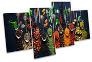 Spices Herbs Modern Spoons Picture Multi Canvas Wall Art Print Multi-coloured