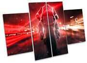 Motor Bike Brake Lights Picture Canvas Wall Art Four Panel Red