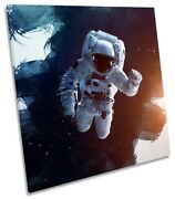 Astronaut Space Man Picture Canvas Wall Art Square Print Black