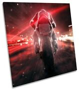 Motor Bike Brake Lights Picture Canvas Wall Art Square Print Red