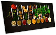 Herbs Spoons Spices Kitchen Picture Panoramic Canvas Wall Art Print Black