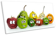 Funny Fruit Faces Kitchen Picture Panoramic Canvas Wall Art Print Multi-coloured