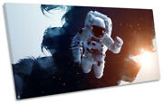 Astronaut Space Man Picture Panoramic Canvas Wall Art Print Black