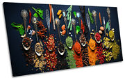 Spices Herbs Modern Spoons Picture Panoramic Canvas Wall Art Print