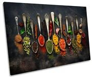 Spoons Spices Kitchen Modern Picture Single Canvas Wall Art Print Multi-coloured