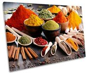 Spices And Herbs Kitchen Picture Single Canvas Wall Art Print Multi-coloured