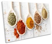 Spices Wooden Spoons Kitchen Picture Single Canvas Wall Art Print White