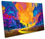 Colourful Abstract Landscape Picture Single Canvas Wall Art Print Orange