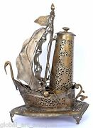 Decor Old Vintage Brass Beautiful Ship Shape Table Lamp Collectable. G68-30 Us