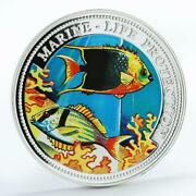 Gambia 100 Bututs Marine Life Protection Fishes Colored Proof Silver Coin 1997