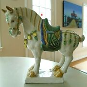 Vintage Large Chinese Tang Dynasty Style Glazed Ceramic Horse Statue