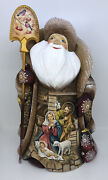 """Santa Claus Wooden Carved Christmas Decor 12.2"""" 31cm Nativity Scene Hand Painted"""