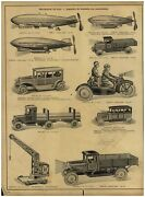 1930 Paper Ad Toys Wind Up Mechanical Tin Toy Zeppelin Motorcycle Side Car Truck