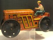 1930s Marx Tin Wind Up Climbing Tractor With Farmer Wind- Up