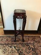 Antique Rosewood Marble Top Plant Stand Table