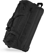 Highland Tactical 30 Squad Large Tactical Rolling Duffel Bag Black One Size