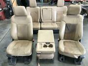 11-16 Ford F350sd Seat Set Rear Seat Console Heat Cool Power Tan Leather