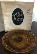 Vintage 1980and039s Tiara Exclusive 12 Amber Decorative Holiday Serving Platter Tray