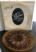 Vintage 1980and039s Tiara Exclusive 12 Amber Egg Tray Holiday Platter - Deviled Eggs