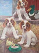 J. Binder Signed Vintage Puppies And Ducklings Large Oil/board Illustrator Cute