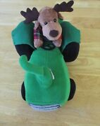 Animated Musical Reindeer Driving Tractor 12long Plush Stuffed New Batteries