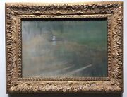 19thc French Impressionism Antique Oil Painting Woman In Canoe Boat At The Pond