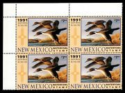 1991 New Mexico Contingency Plate Block Of 4 State Duck Stamps Nm1 Var