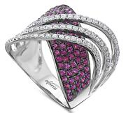 Large 2.12ct Diamond And Aaa Ruby 18kt White Gold 3d Multi Row Infinity Love Ring