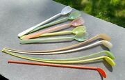 Vintage Tupperware Set Of 4 Curved Ice Tea Spoons And 1 Straight Spoon And 5 Sporks