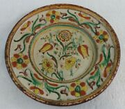 Antique Redware Sgraffito Charger 3 Color Slip Tulips And Floral Decoration