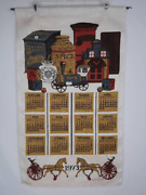 Vintage 1973 Toys And Tins Decorative Linen Cloth Calendar By Sewell Jackson