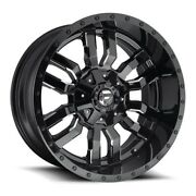 22x10 D595 Fuel Sledge Gloss Black And Milled Wheels 5x5.5/5x150 10mm Set Of 4