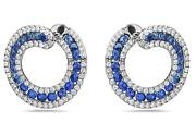2.80ct Diamond And Aaa Sapphire 18kt White Gold 3d Sideways Hoop Hanging Earrings
