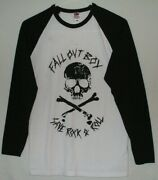 Fall Out Boy Save Rock And Roll 3/4 Sleeve Baseball Style Shirt Size S Skull