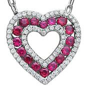 1.29ct Diamond And Aaa Ruby 18k White Gold Double Open Heart Love Floating Pendant