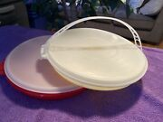 Lot Of 2 Tupperware 405 Divided Serving Party Vegetable Relish Tray W/ Lid