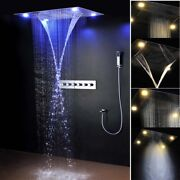 Led 31 Brass Thermostatic Valve Spa Mist Waterfall Showers Head Hand Shower Set