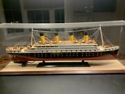 Titanic Model With Display Case + Lighting 38x13x9 Rare Collector's Model
