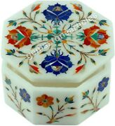 Buy Online Marble Antique White Jewelry Box Semi Precious Stone Floral Inlay Art