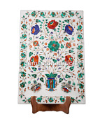18x12 Marble Multi Floral Tray Marquatrey Inlay Kitchen Decor New Year Gift